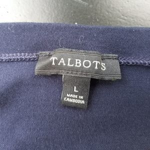 Talbots Tops - Talbots Navy Career Top Boat Neck Soft Cotton L